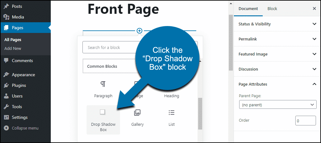 "click the ""Drop Shadow Box"" block"