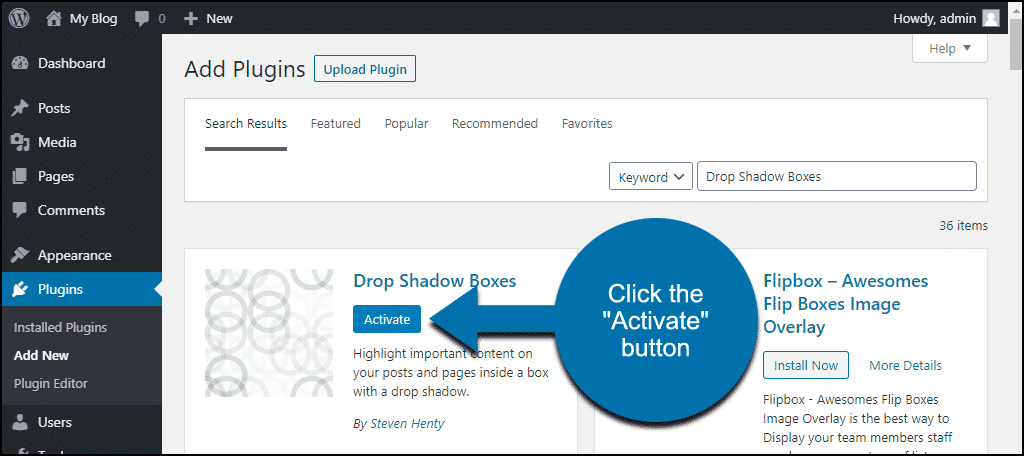 click to activate the WordPress Drop Shadow Boxes plugin