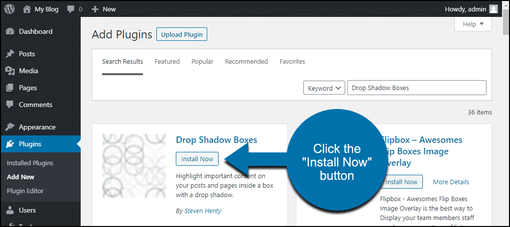 click to install the WordPress Drop Shadow Boxes plugin