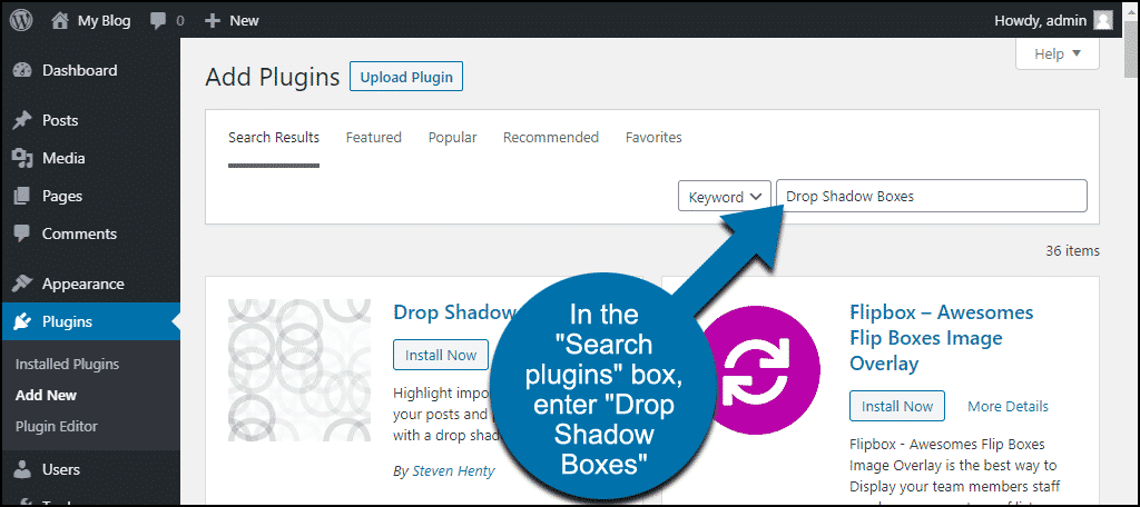 search for the WordPress Drop Shadow Boxes plugin