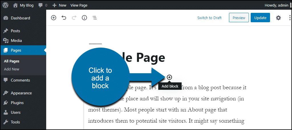 """click the """"add block"""" icon"""
