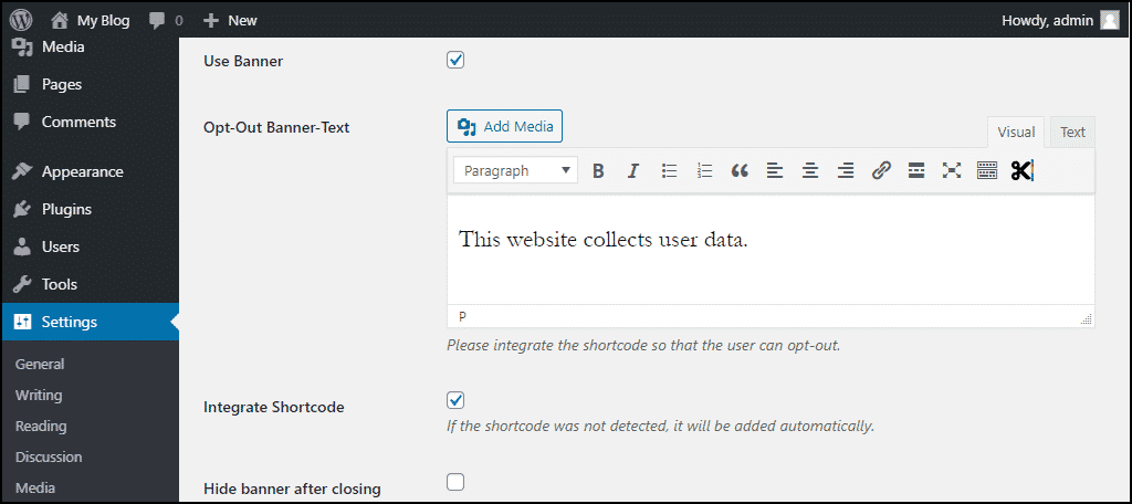 """click the """"Use Banner"""" box"""