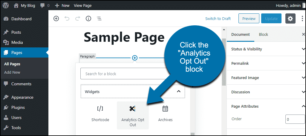 """click the """"Analytics Opt Out"""" block"""