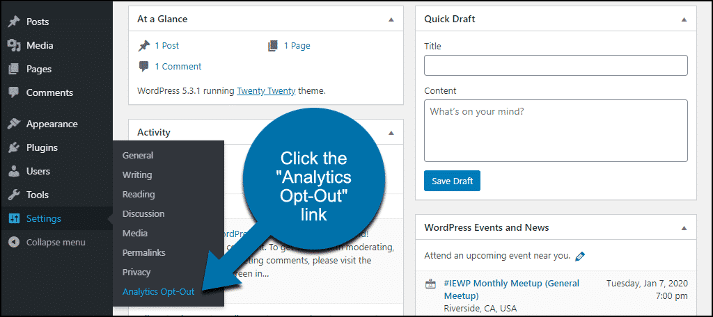 """click the """"Analytics Opt-Out"""" link"""