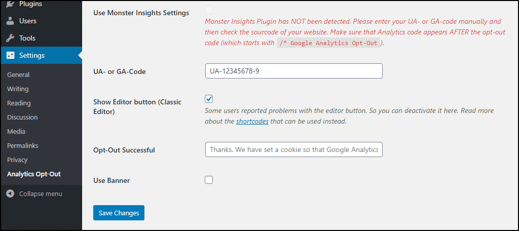enter your Google Analytics code