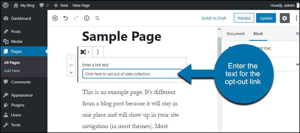 enter the text for the opt-out link