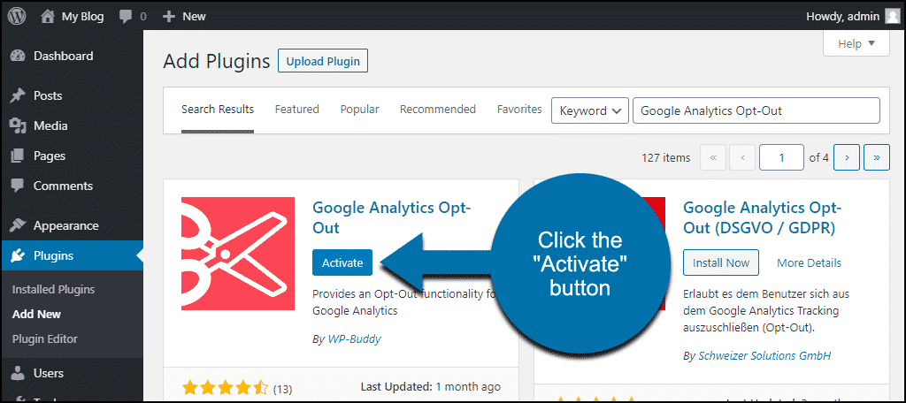 click to activate the WordPress Google Analytics Opt-Out plugin