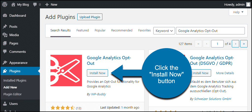click to install the WordPress Google Analytics Opt-Out plugin