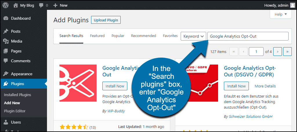 search for the WordPress Google Analytics Opt-Out plugin