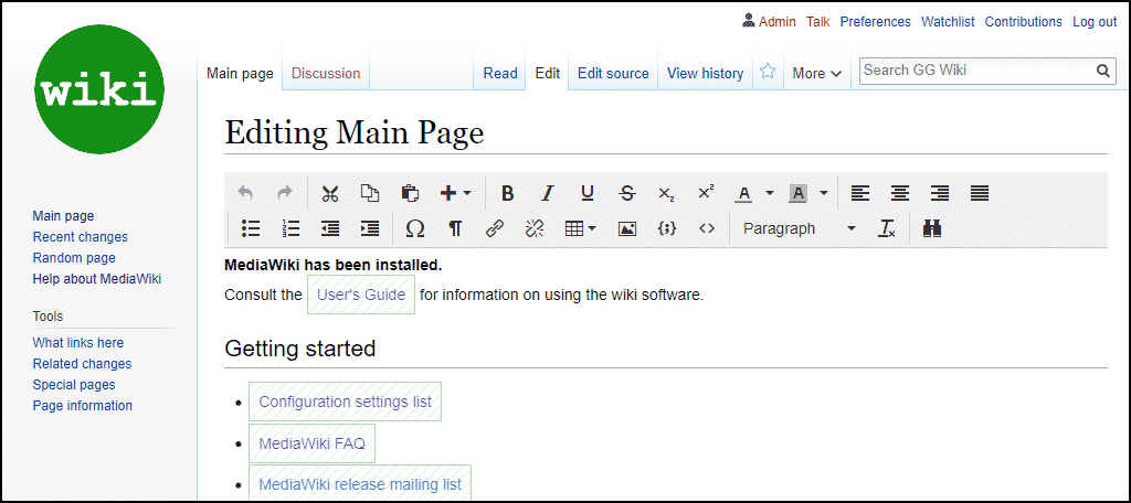 TinyMCE MediaWiki editor
