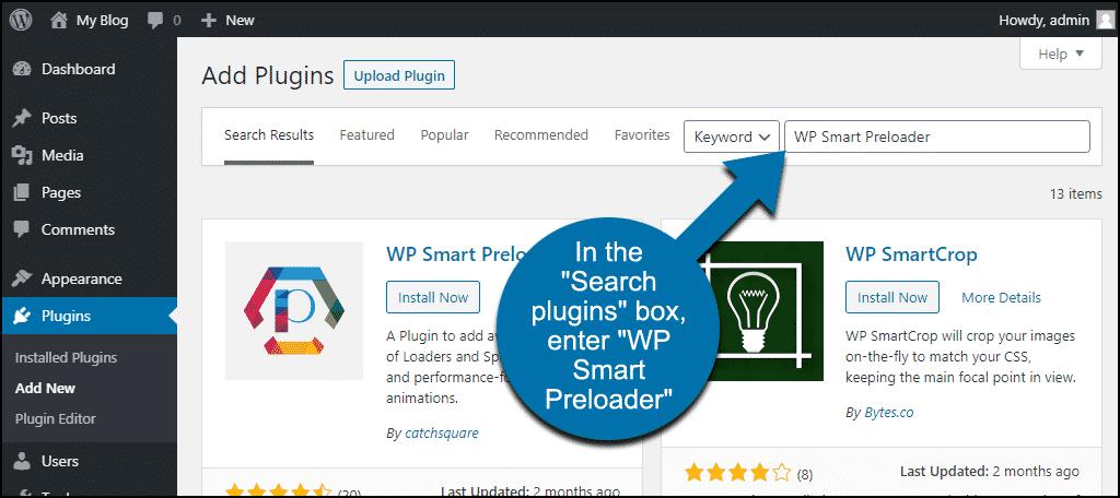 search for the WordPress WP Smart Preloader plugin