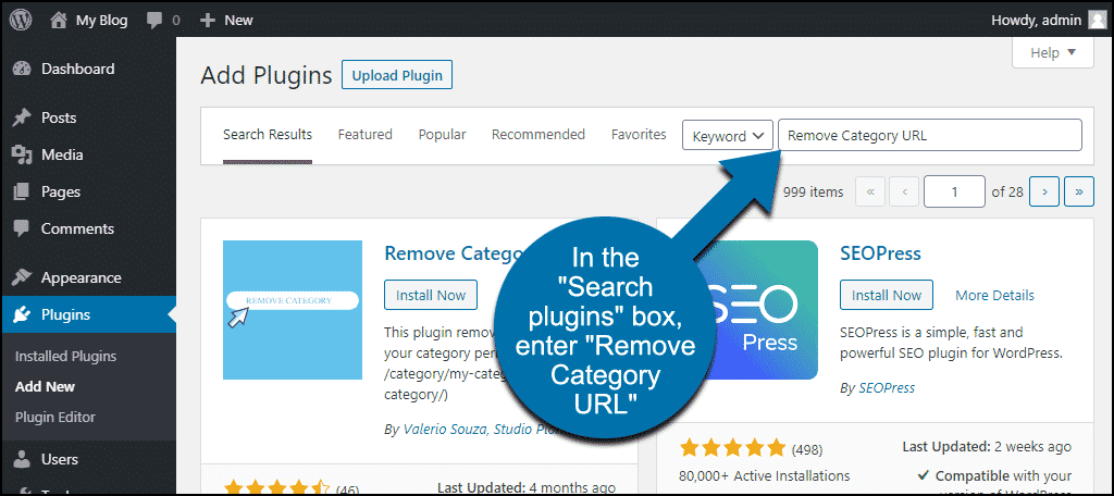 search for the WordPress Remove Category URL plugin