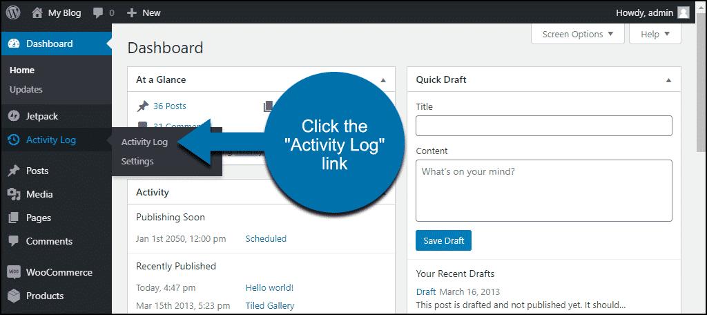 "click the ""Activity Log"" link"