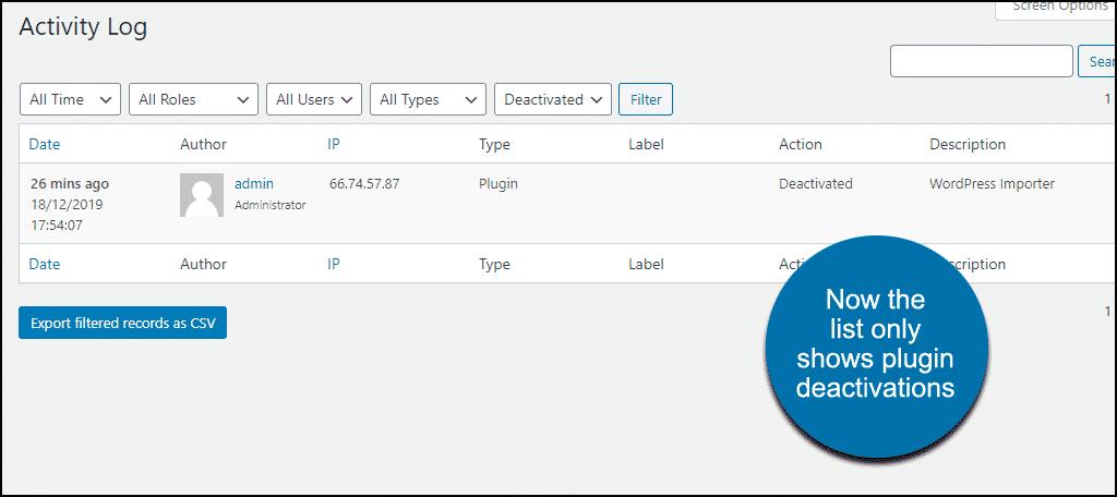 plugin deactivation activity logs