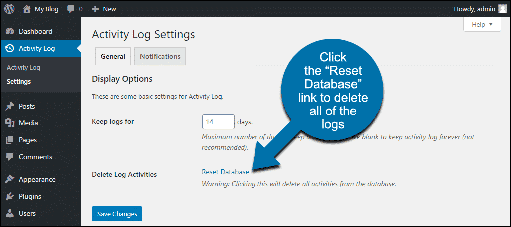 """click the """"Reset Database"""" link"""