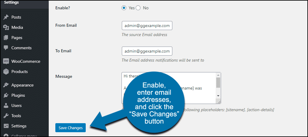 configuring alert email