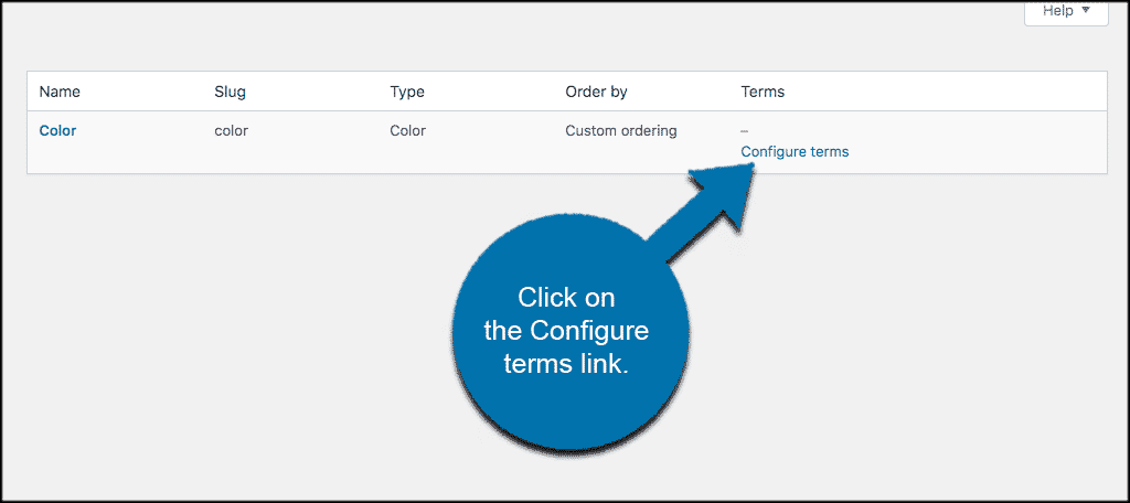 Click on the configure terms link