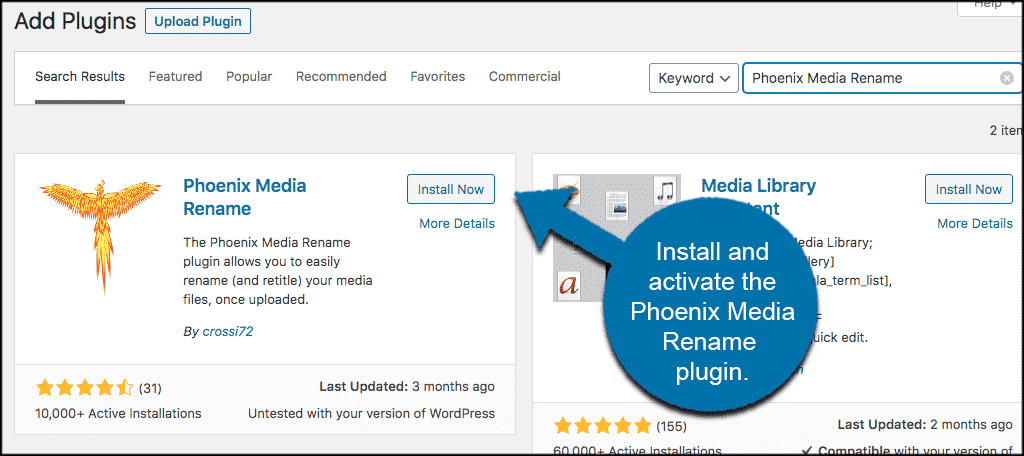 Install and activate rename image in wordpress plugin