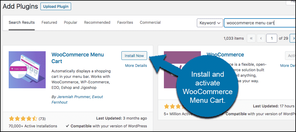 Install and activate woocommerce cart icon plugin