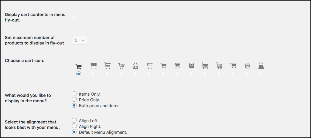 More cart icon settings