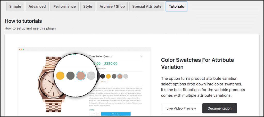 WooCommerce product variations tutorials tab
