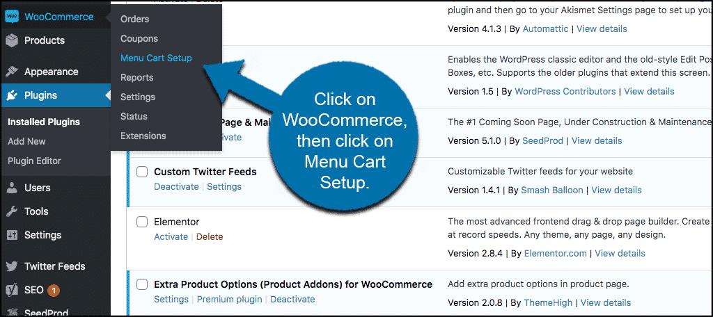 Click woocommerce then click menu cart setu