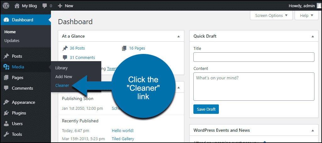"""click the """"Cleaner"""" link"""