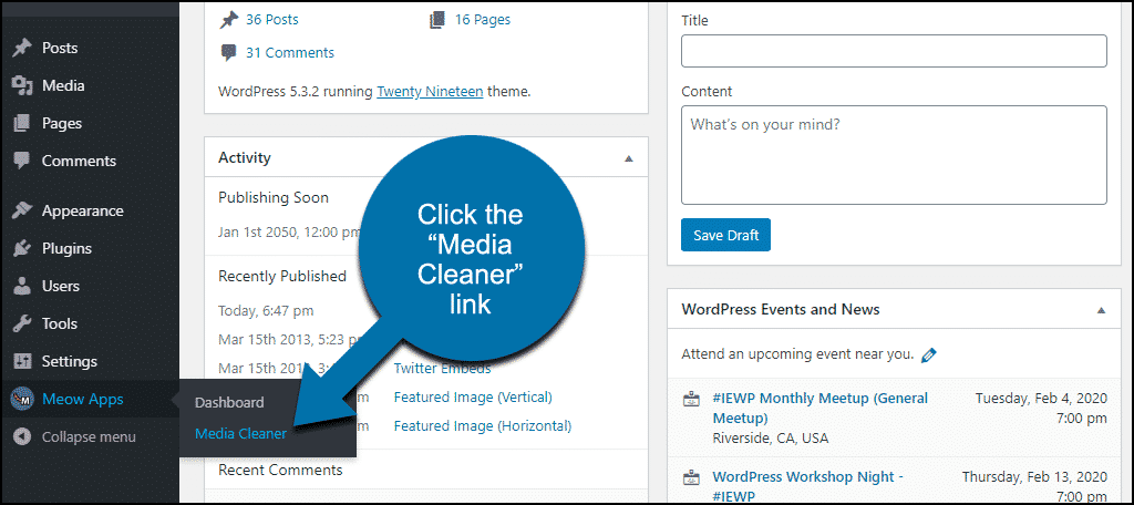 """click the """"Media Cleaner"""" link"""