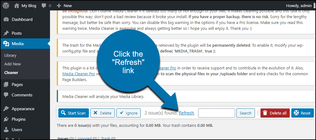 """click the """"Refresh"""" link"""
