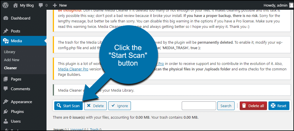 """click the """"Start Scan"""" button"""