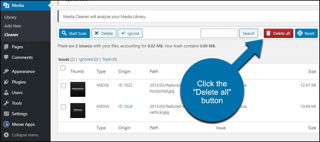 """click the """"Delete all"""" button"""