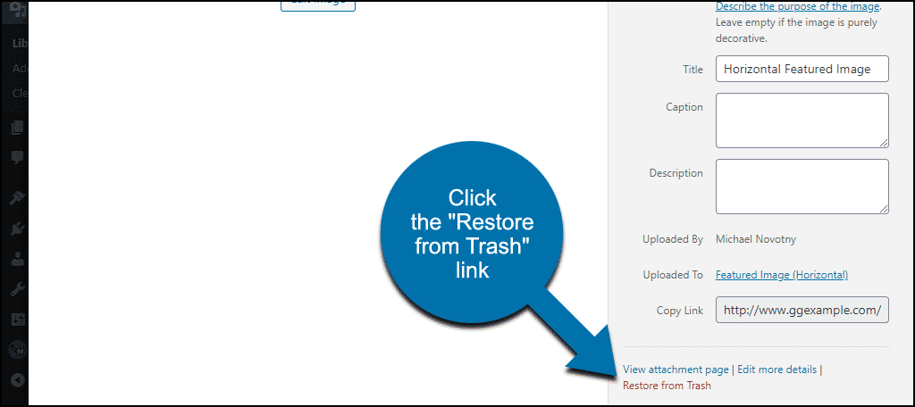 """click the """"Restore from Trash"""" link"""