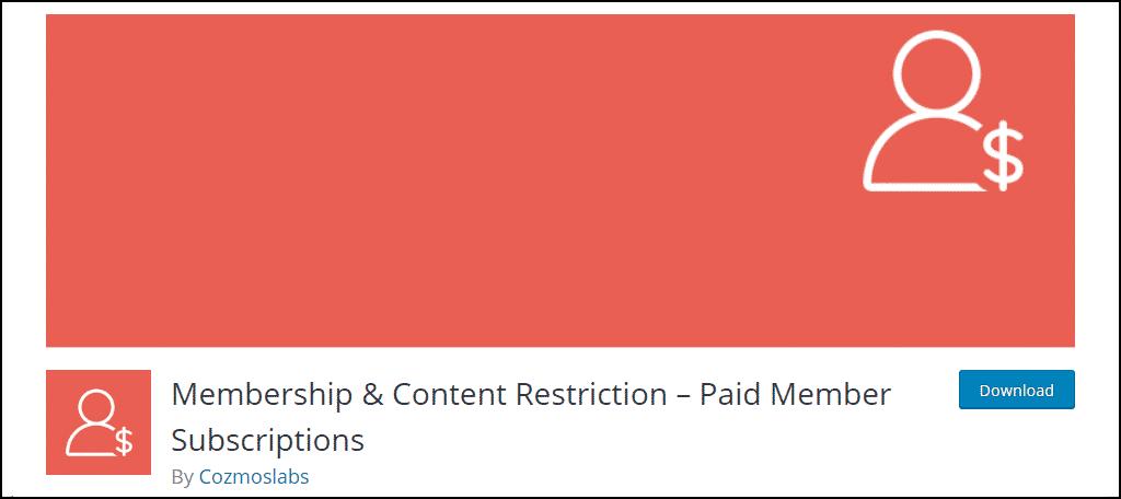 Membership & Content Restriction WordPress plugin