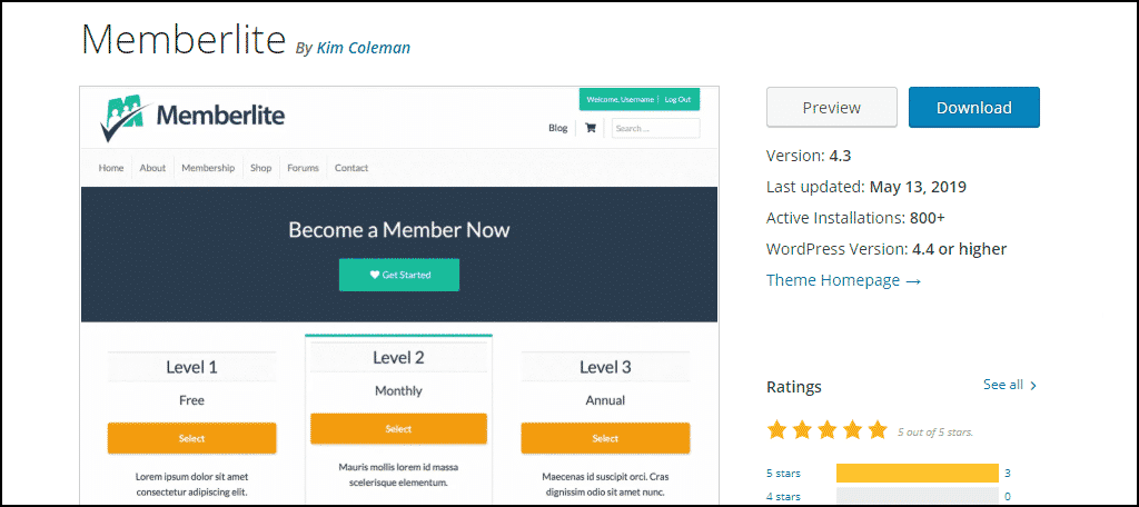 Memberlite WordPress theme