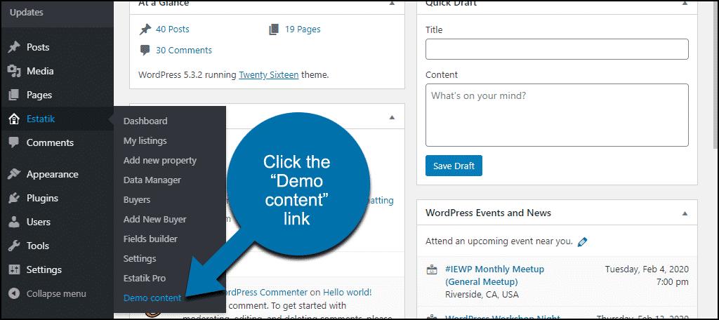 "click the ""Demo Content"" link"