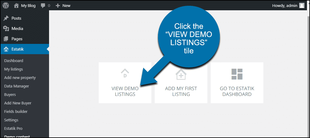 "click the ""VIEW DEMO LISTINGS"" tile"