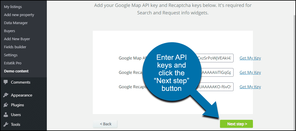 "click the ""Next step"" button"