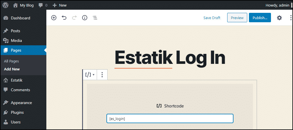 create log in page