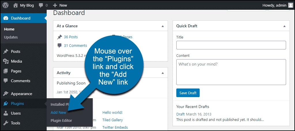 """mouse over the """"Plugins"""" link and click the """"Add New"""" link"""
