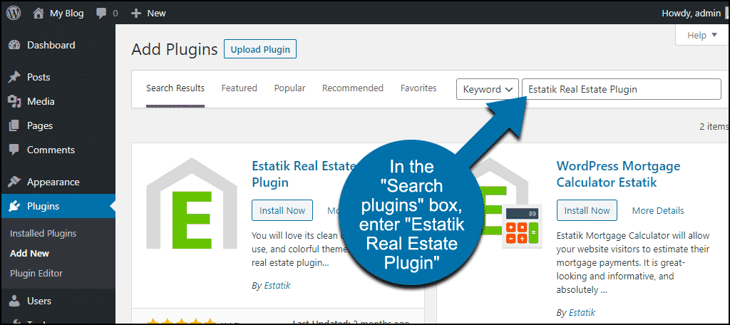 search for the WordPress Estatik Real Estate Plugin