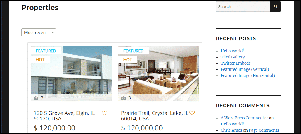 properties page with demo listings