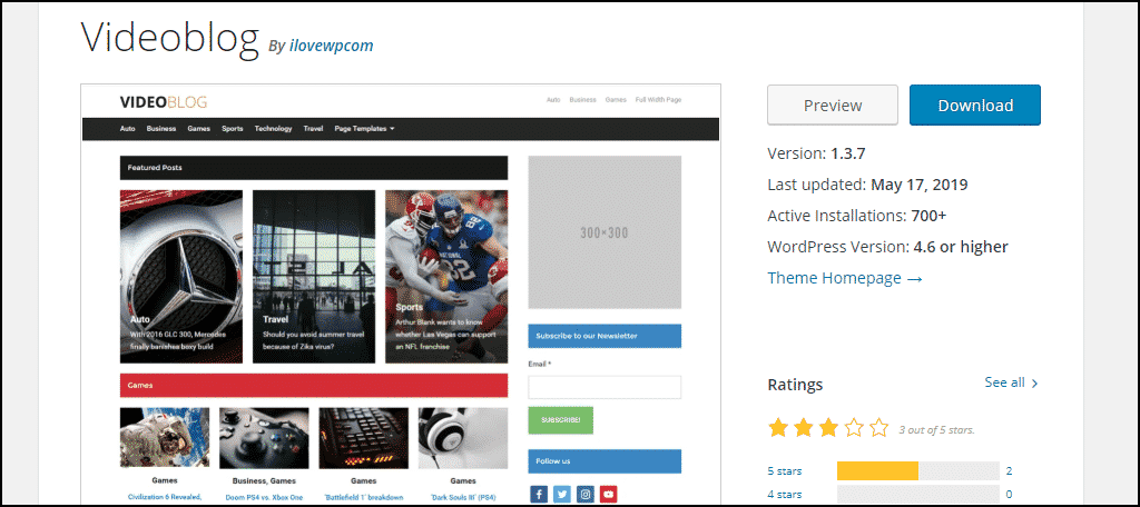 Videoblog WordPress theme