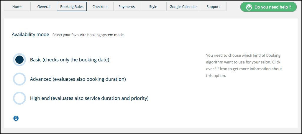 Booking tab for salon booking system