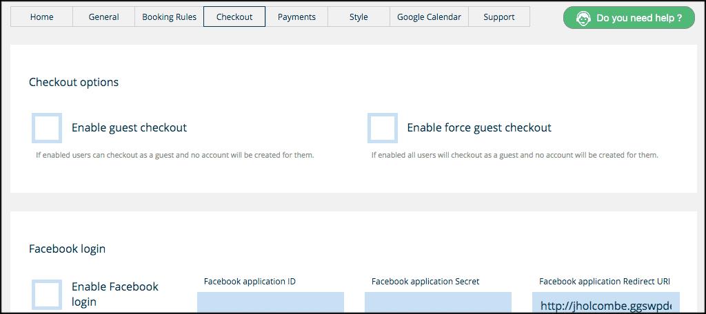Checkout tab