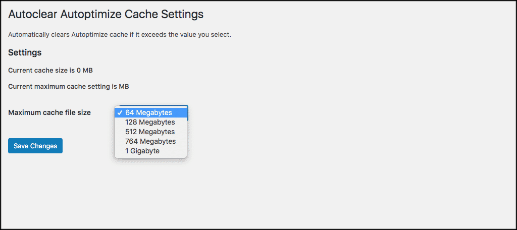 Clear cache settings