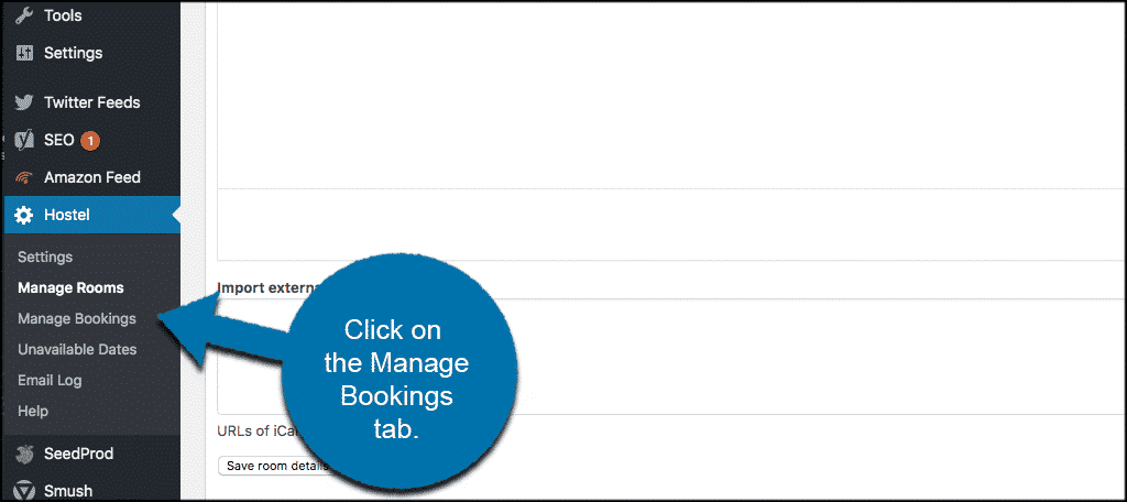 Click on manage bookings