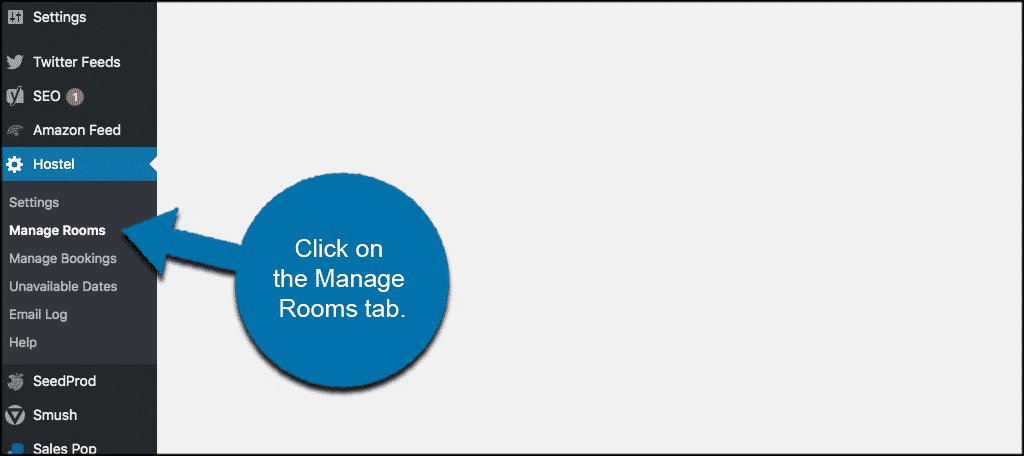 Click on manage rooms tab