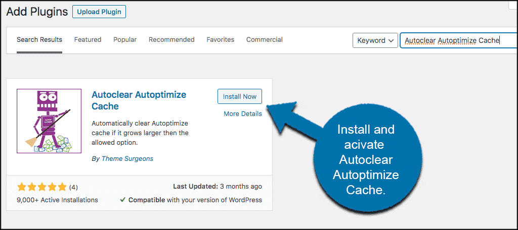 Install and activate the autoclear autoptimize cache plugin