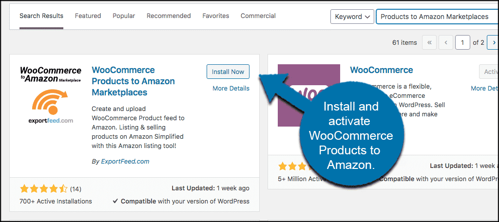 INstall and ativate woocommerce to amazon plugin