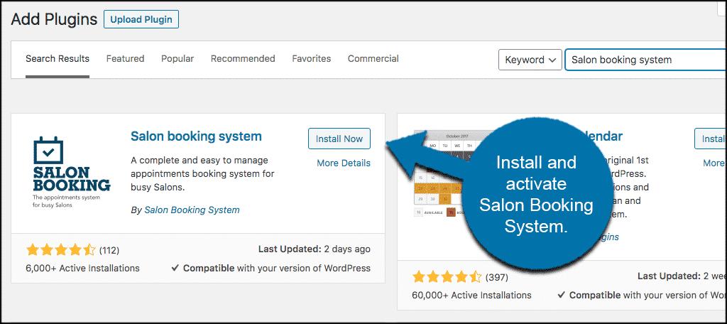 INstall and activate salon booking system